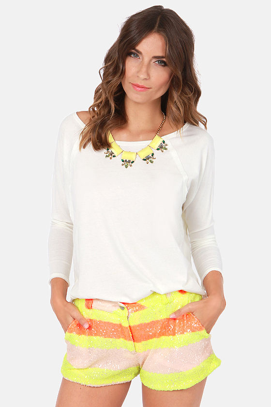 Gypsy Junkies Brit Neon Striped Sequin Shorts at Lulus.com!