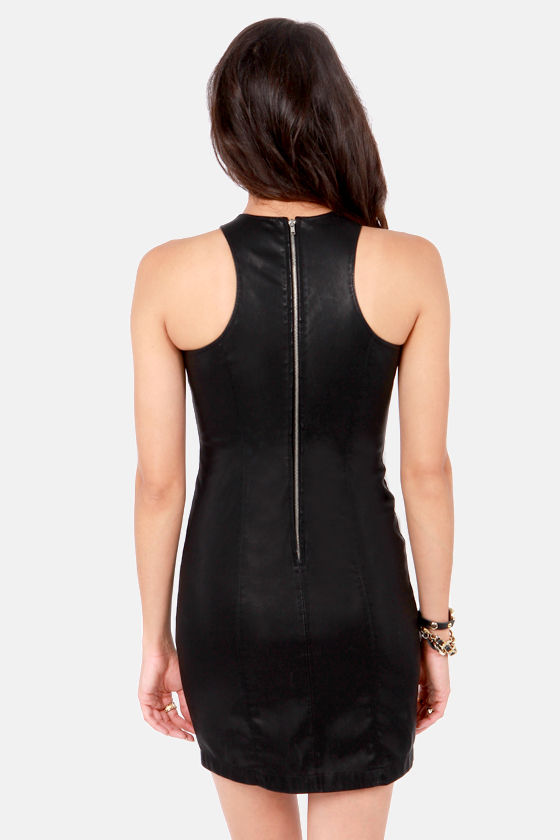 BB Dakota Simone Black Vegan Leather Dress at Lulus.com!