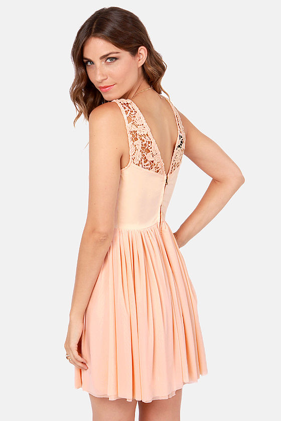 My Cherie Amour Peach Lace Dress at Lulus.com!
