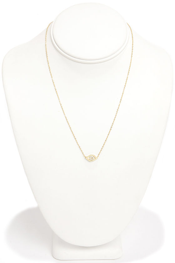 All Seeing Eye Gold Rhinestone Necklace at Lulus.com!