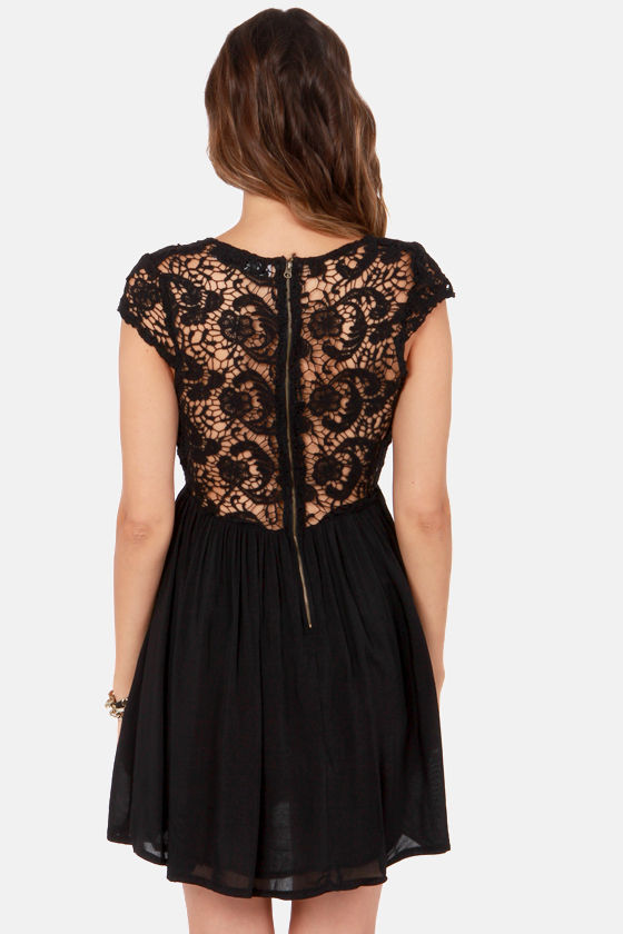 Look the Part-y Black Lace Dress at Lulus.com!