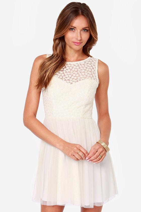 c63a6dafe33a Cute Embroidered Dress - Cream Dress -  49.00