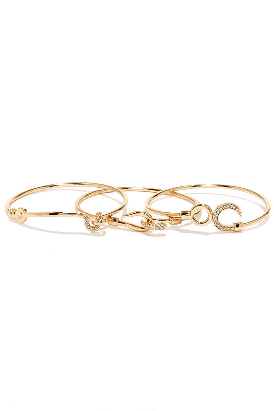 Hooked On You Gold Bangle Set at Lulus.com!