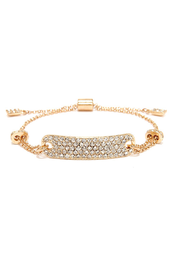 Tag Along Gold Rhinestone ID Bracelet at Lulus.com!