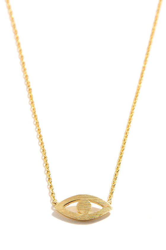Mind's Eye Gold Eye Necklace at Lulus.com!