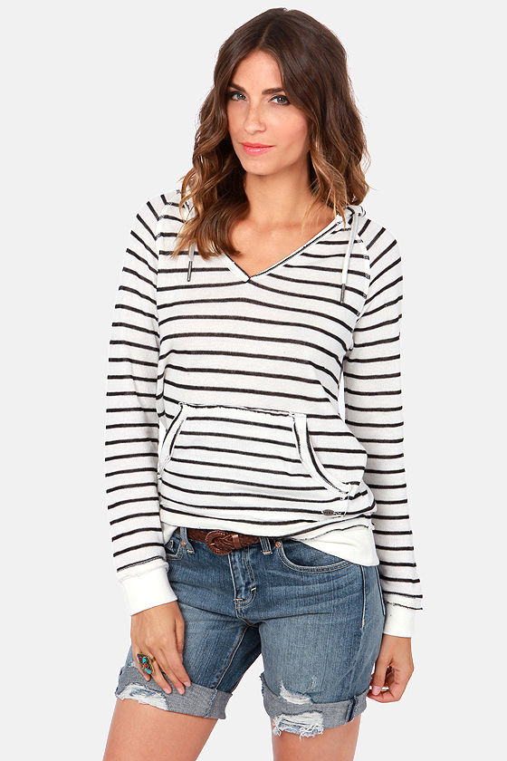 Roxy First Breath Ivory Striped Hoodie Sweater at Lulus.com!