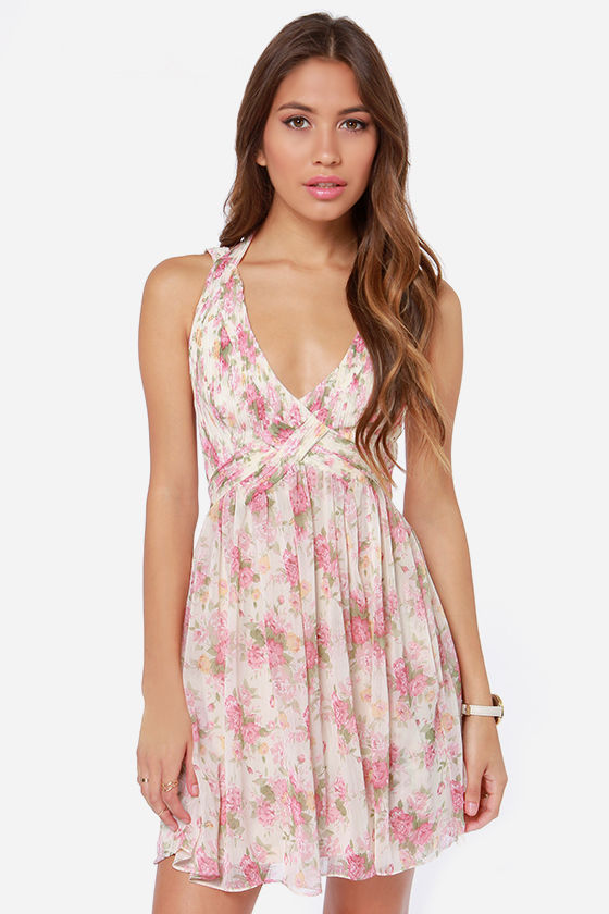 Top Fleur Cream Floral Print Dress at Lulus.com!