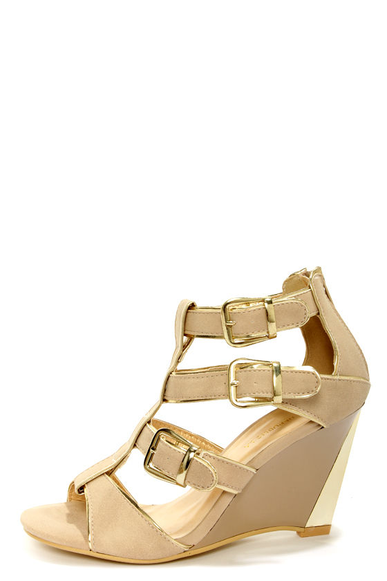 Shoe Republic LA Eira Nude and Gold Belted Wedge Sandals at Lulus.com!