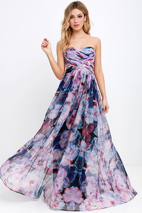 Pretty Purple Dress - Floral Print Dress - Maxi Dress - $268.00