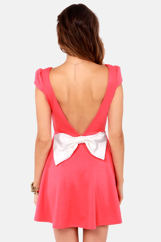 Flare-est of Them All Backless Coral Dress at Lulus.com!