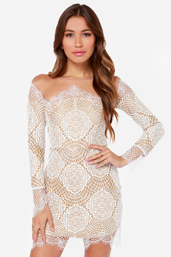 For Love &amp Lemons Grace - White Lace Dress - Long Sleeve Dress ...