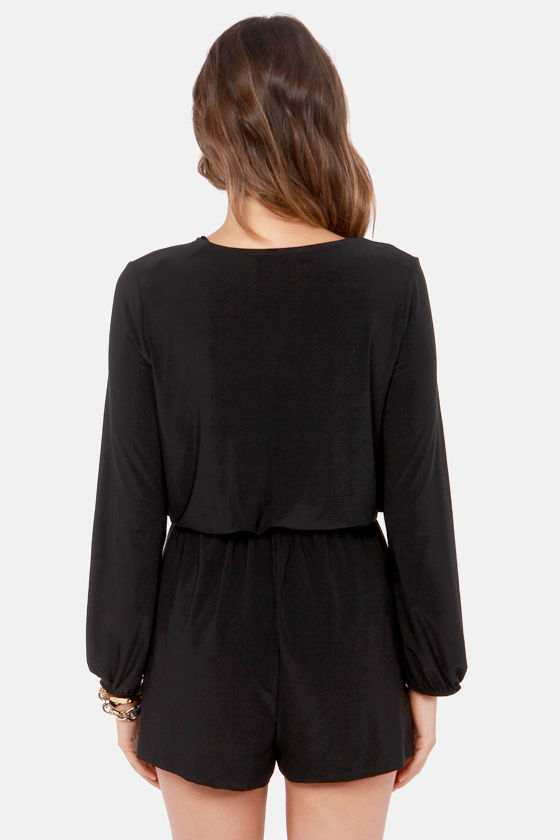 Camellia-on Club Black Romper at Lulus.com!
