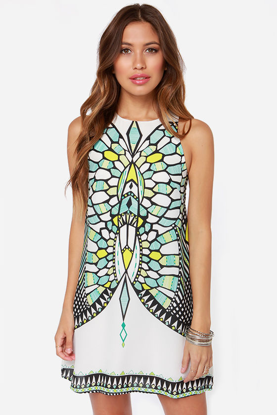 Honorable Dimension White Mirror Print Dress at Lulus.com!