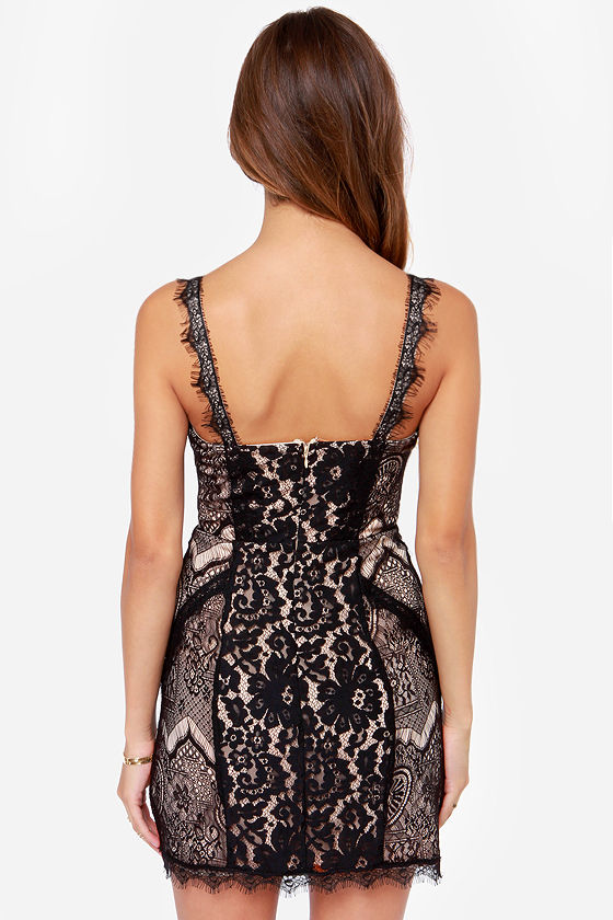 Shake Se�ora Beige and Black Lace Dress at Lulus.com!
