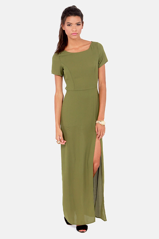 Don't Call It a Comeback Olive Green Maxi Dress at Lulus.com!