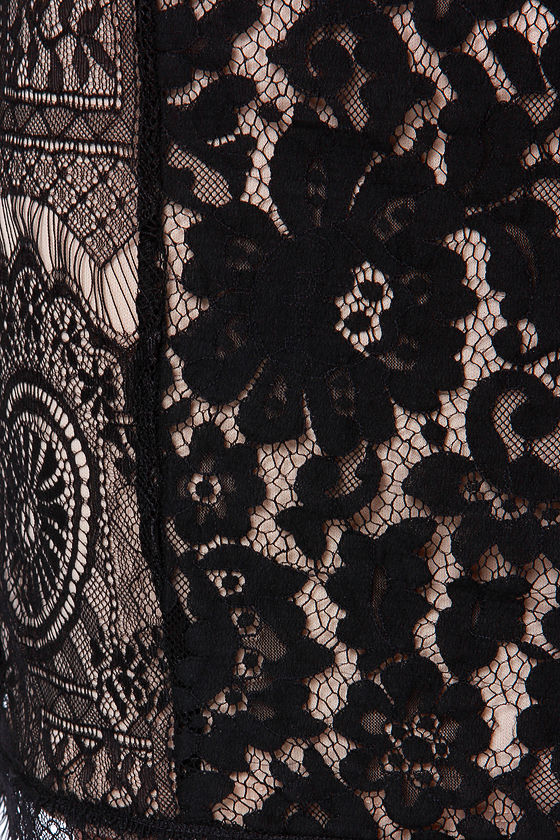 Shake Se�ora Beige and Black Lace Dress at Lulus.com!