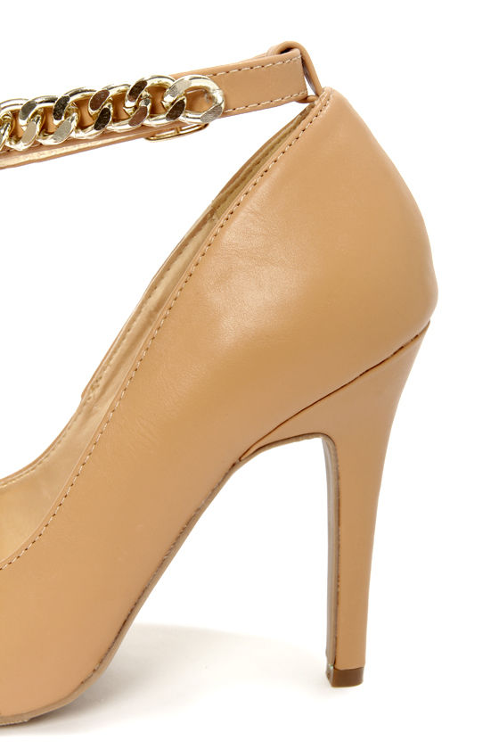 Shoe Republic LA Blanco Camel Ankle Chain Pointed Pumps at Lulus.com!