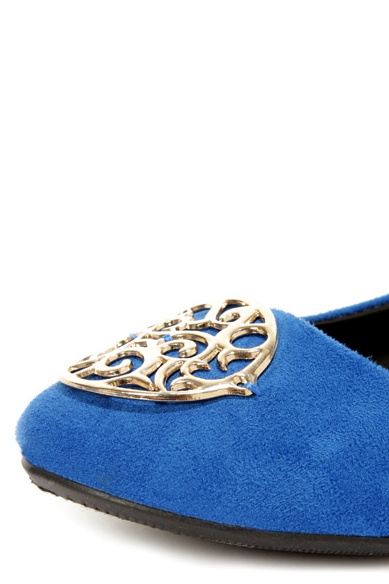 City Classified Quant Ocean Blue Medallion Ballet Flats at Lulus.com!