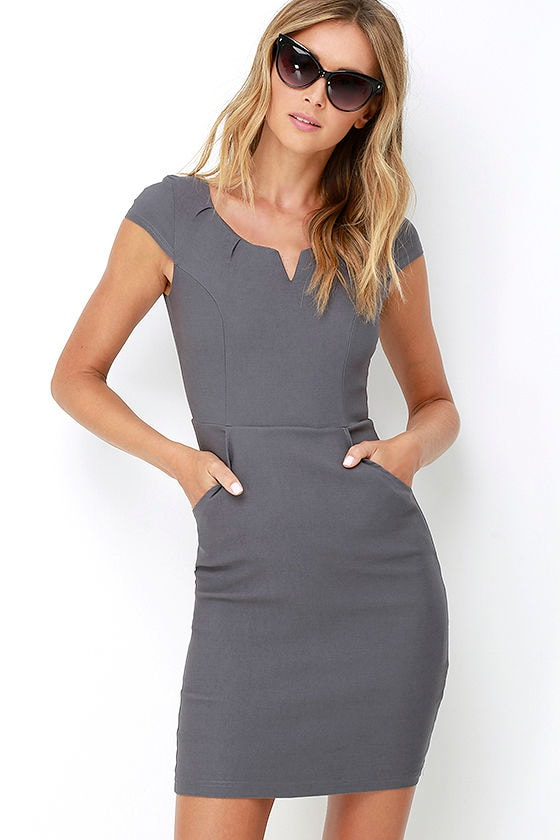 4b64f395924d Cute Grey Dress - Bodycon Dress - Office Dress -  35.00