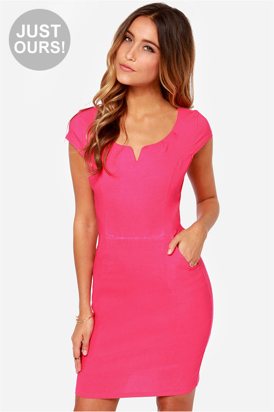 Cute Hot Pink Dress - Bodycon Dress - Office Dress - $35.00