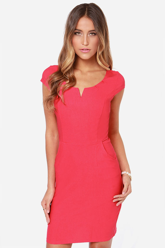 Cute Coral Dress Bodycon Dress Office Dress