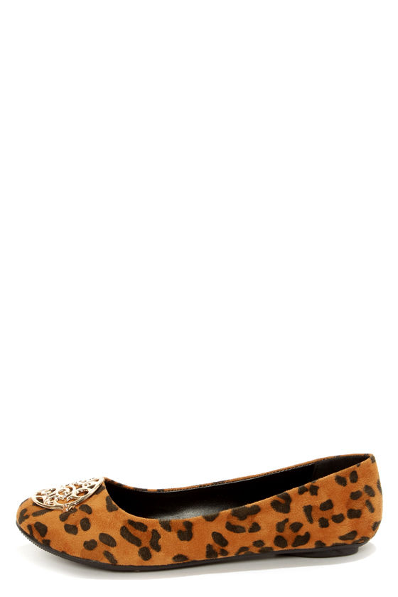 City Classified Quant Tan Leopard Print Medallion Ballet Flats at Lulus.com!