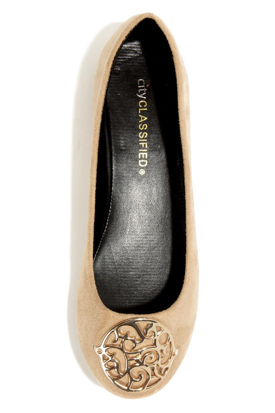 City Classified Quant Oat Beige Medallion Ballet Flats at Lulus.com!