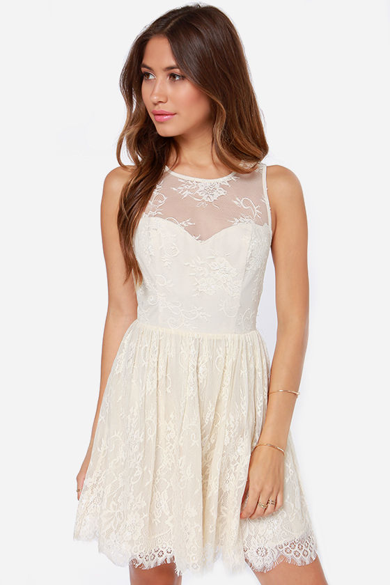 Pretty Cream Dress - Lace Dress - Sleeveless Dress - $83.00