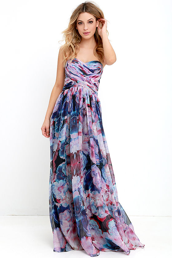 Bariano Special Effects Purple Floral Print Maxi Dress at Lulus.com!