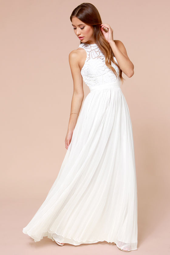 Gorgeous Off White Dress - Maxi Dress - Sequin Dress - Pleated ...