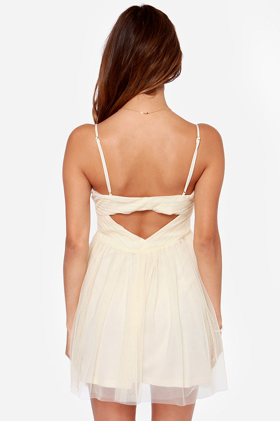 Knot Long Now! Cutout Cream Dress at Lulus.com!