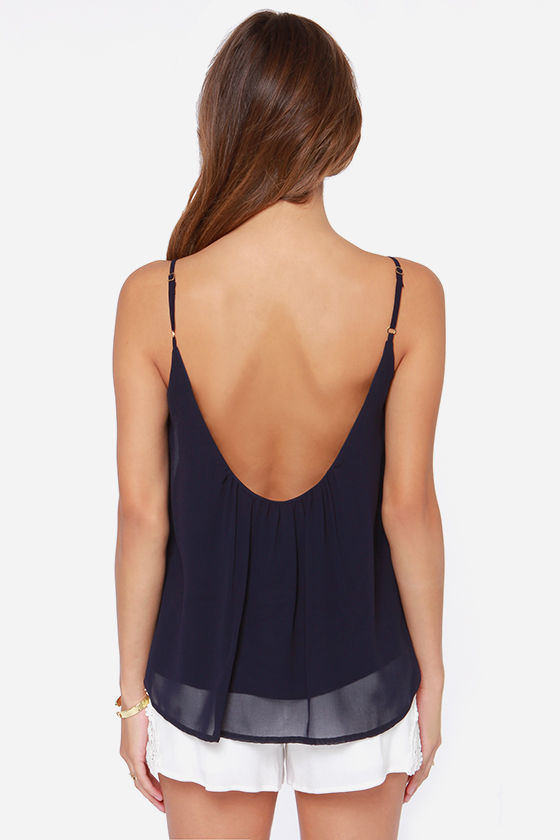 LULUS Exclusive Bel Air Baby Navy Blue Tank Top at Lulus.com!
