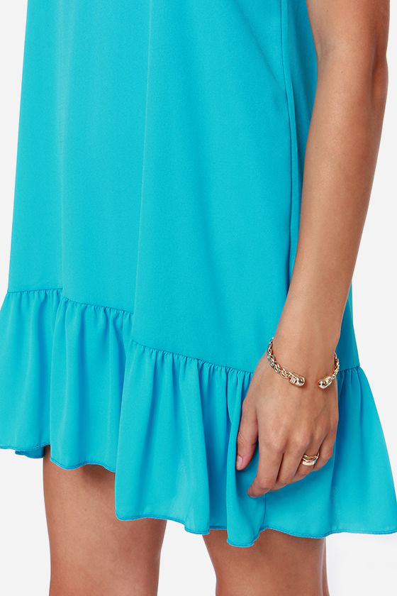 Let It Flow Silky Turquoise Dress at Lulus.com!
