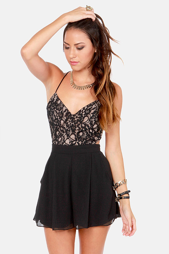 c2174fb68cec Sexy Black Romper - Lace Romper - Backless Romper -  42.00