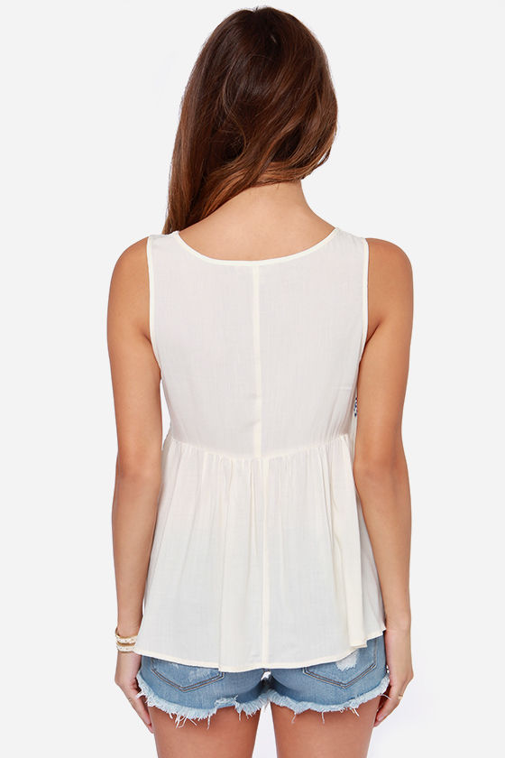 Sweet Nightingale Embroidered Cream Top at Lulus.com!