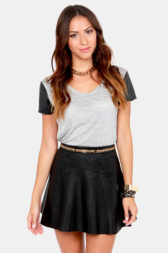 Sexy Black Skirt - Vegan Leather Skirt - $48.00