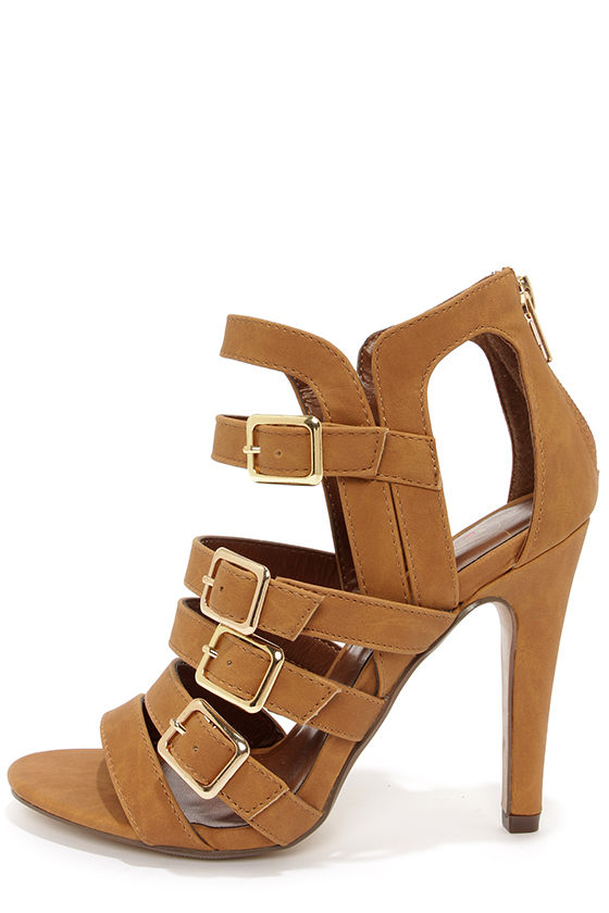 c5ff3891c Cute Tan Sandals - Caged Sandals - High Heel Sandals -  30.00