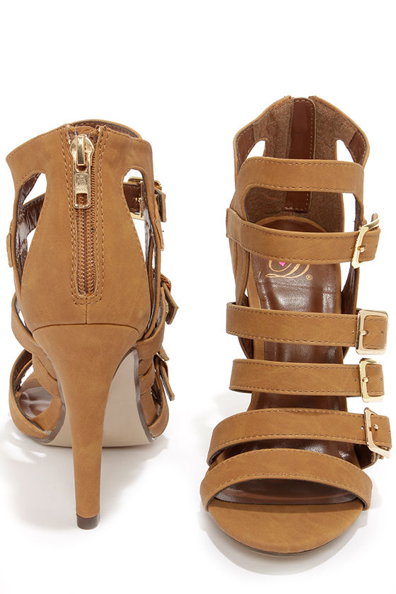 My Delicious Kiara Tan Nubuck Caged High Heel Sandals at Lulus.com!