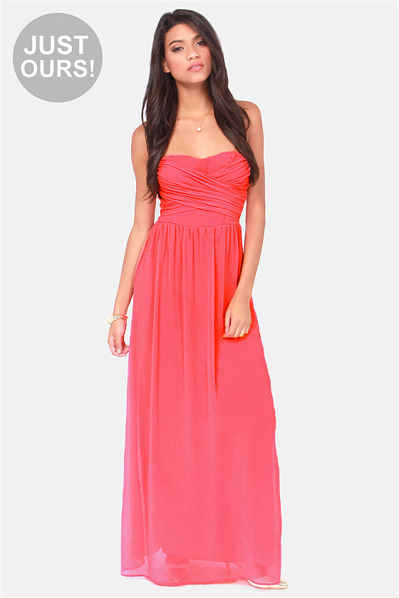 Lovely Coral Dress - Strapless Dress - Maxi Dress - $71.00