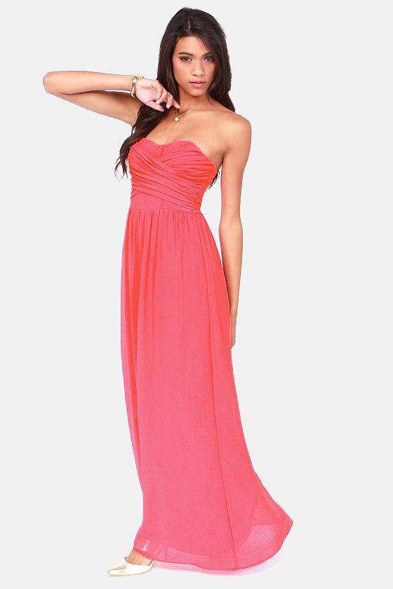 Lovely Coral Dress - Strapless Dress - Maxi Dress - $71.00