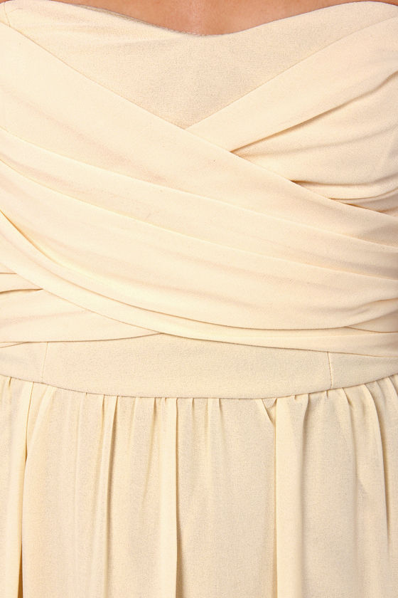 LULUS Exclusive Slow Dance Strapless Cream Maxi Dress at Lulus.com!