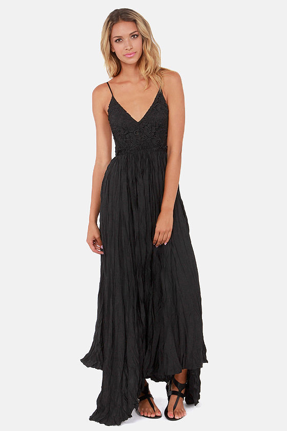 Snowy Meadow Crocheted Black Maxi Dress at Lulus.com!
