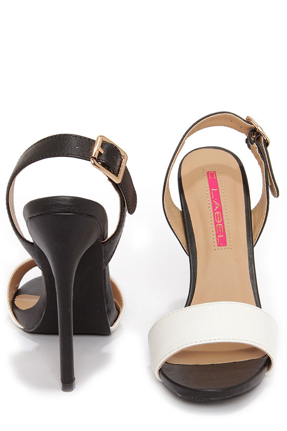 C Label Olive 16 Black and White Slingback Heels at Lulus.com!
