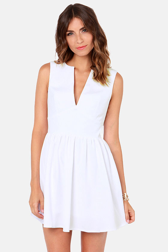 Cute White Dress - Skater Dress - Sleeveless Dress - $47.00