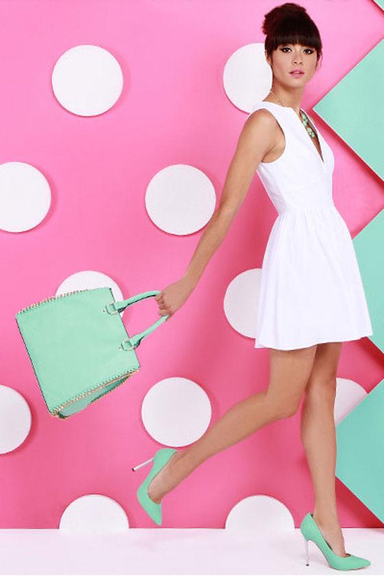 0737ae510c39 Cute White Dress - Skater Dress - Sleeveless Dress -  47.00