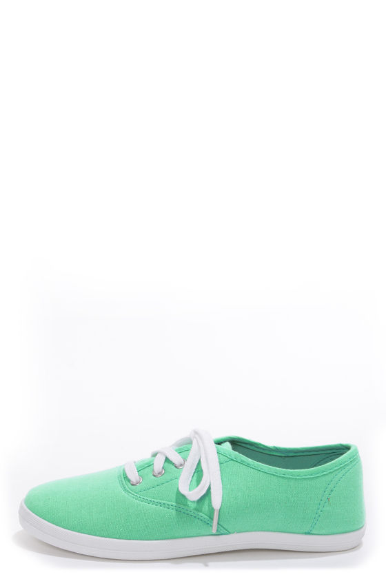 Wild Diva Lounge Marsden 01 Mint Canvas Lace-Up Sneakers at Lulus.com!