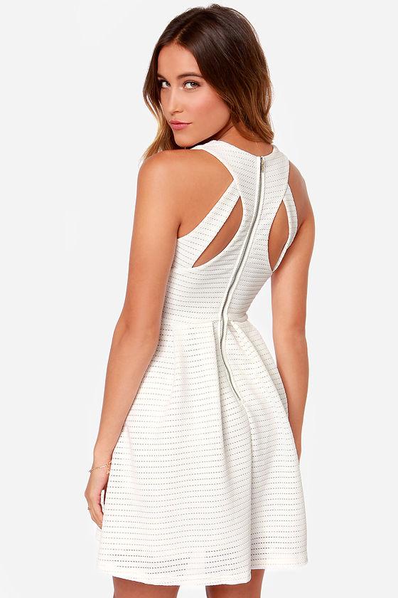 3ffb82084f79 Cute Ivory Dress - Skater Dress - White Dress - Fit and Flare Dress -  42.00