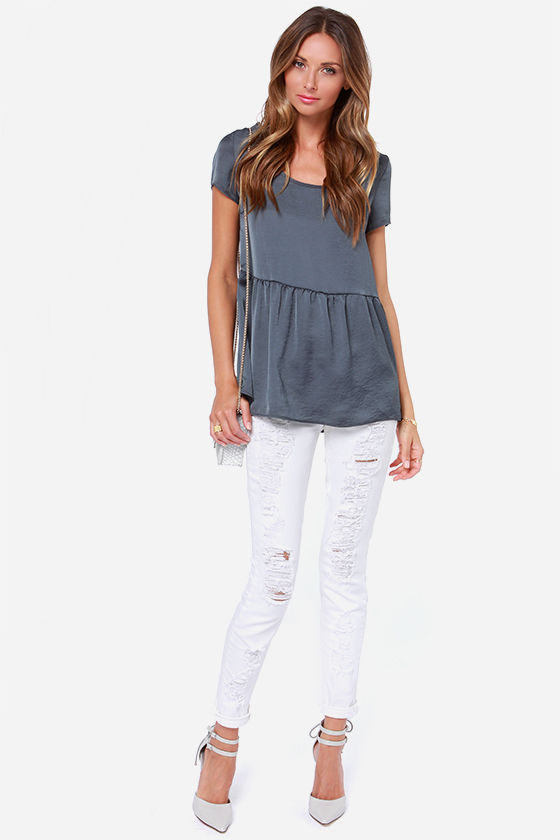 LULUS Exclusive Night Visions Grey Top at Lulus.com!
