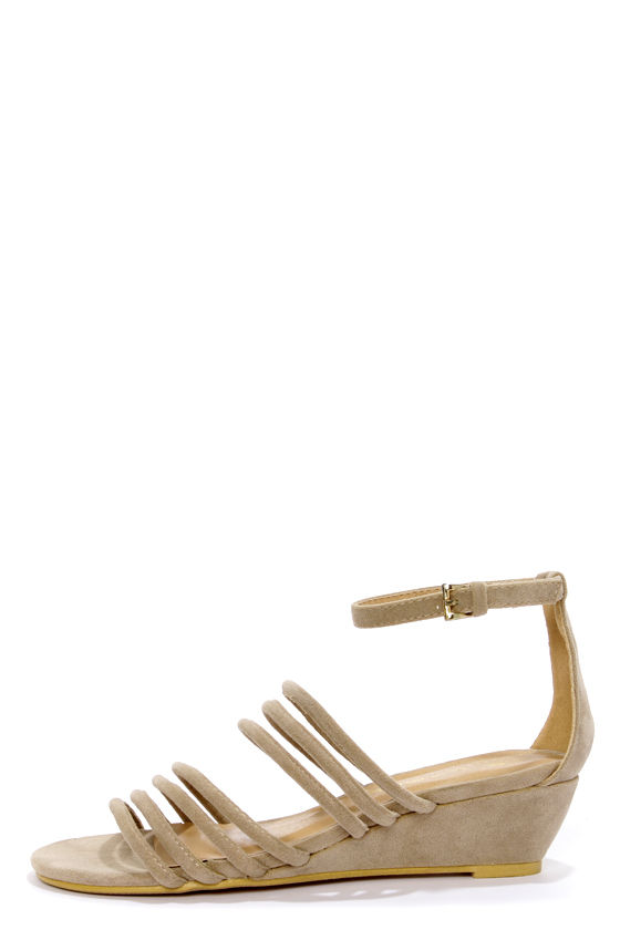 C Label Coco 3 Taupe Strappy Sliver Wedge Sandals at Lulus.com!