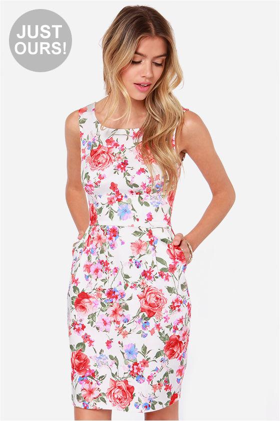 Pretty Floral Print Dress - Coral Dress - $40.00